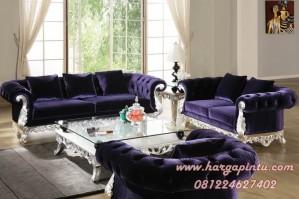 Set Kursi Tamu Sofa Emma Biru Perak
