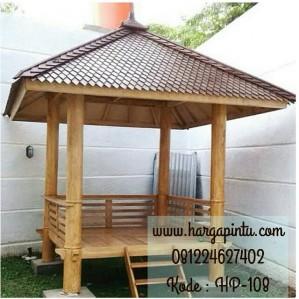 Gazebo Minimalis Atap Sirap Kayu Ulin HP-108