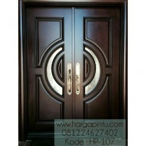 Pintu Depan Kupu Tarung Klasik Kayu Mahoni HP-107