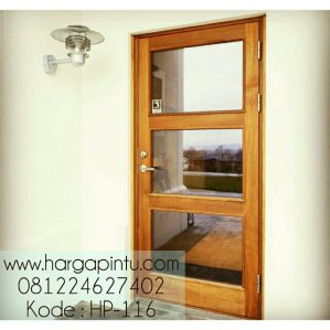 Pintu Kayu Jati Panel Kaca HP-116