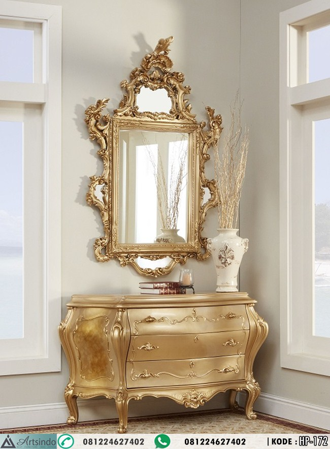 Meja Consule Bombay With Mirror Ukir Gold