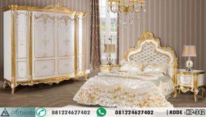 Tempat Tidur Pengantin Klasik Ukiran Putih Gold HP-342