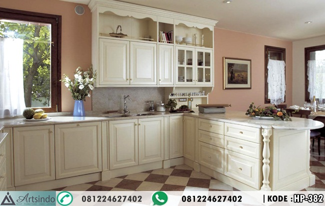 Kitchen Set Klasik Putih Tulang