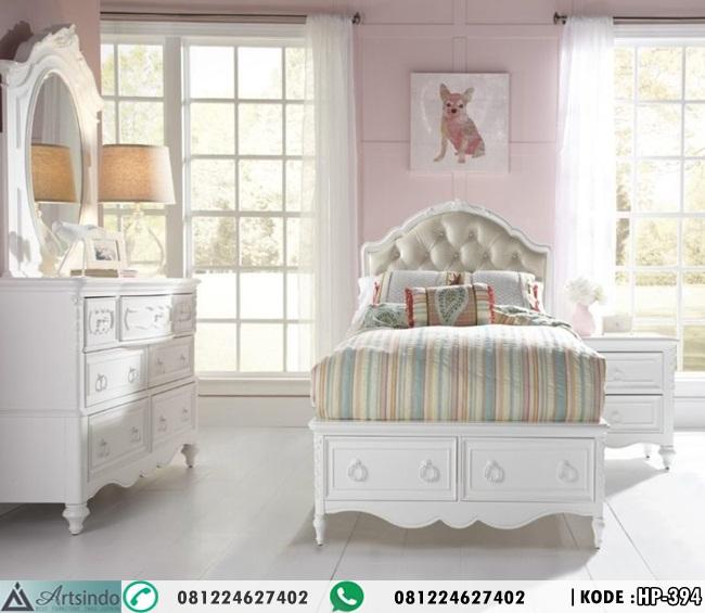 Set Tempat Tidur Anak Perempuan Klasik Putih Ukiran