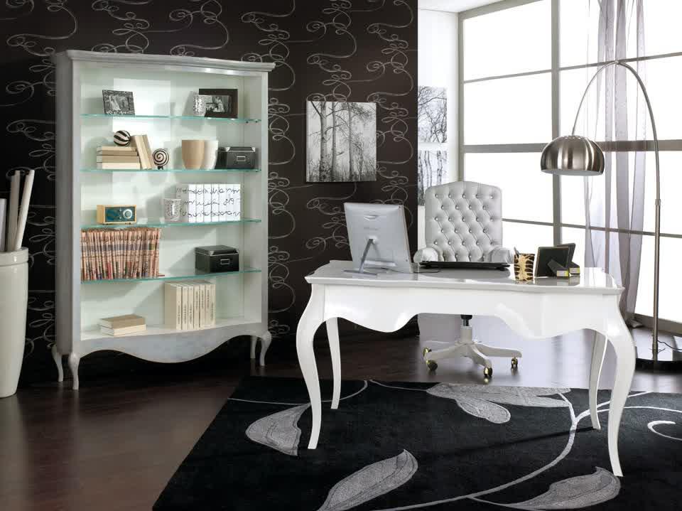 Set Meja Kerja Elegan Warna Putih Klasik