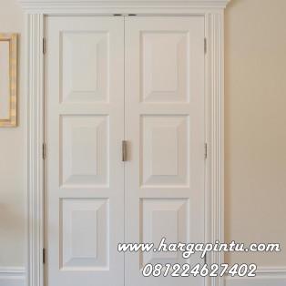 Pintu Kamar Double Warna Putih 3 Panel Kotak Bevel