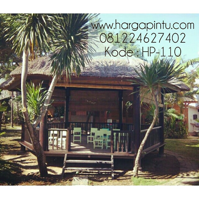 Gazebo Bali Segi 6 Kayu Glugu Atap Alang HP-110
