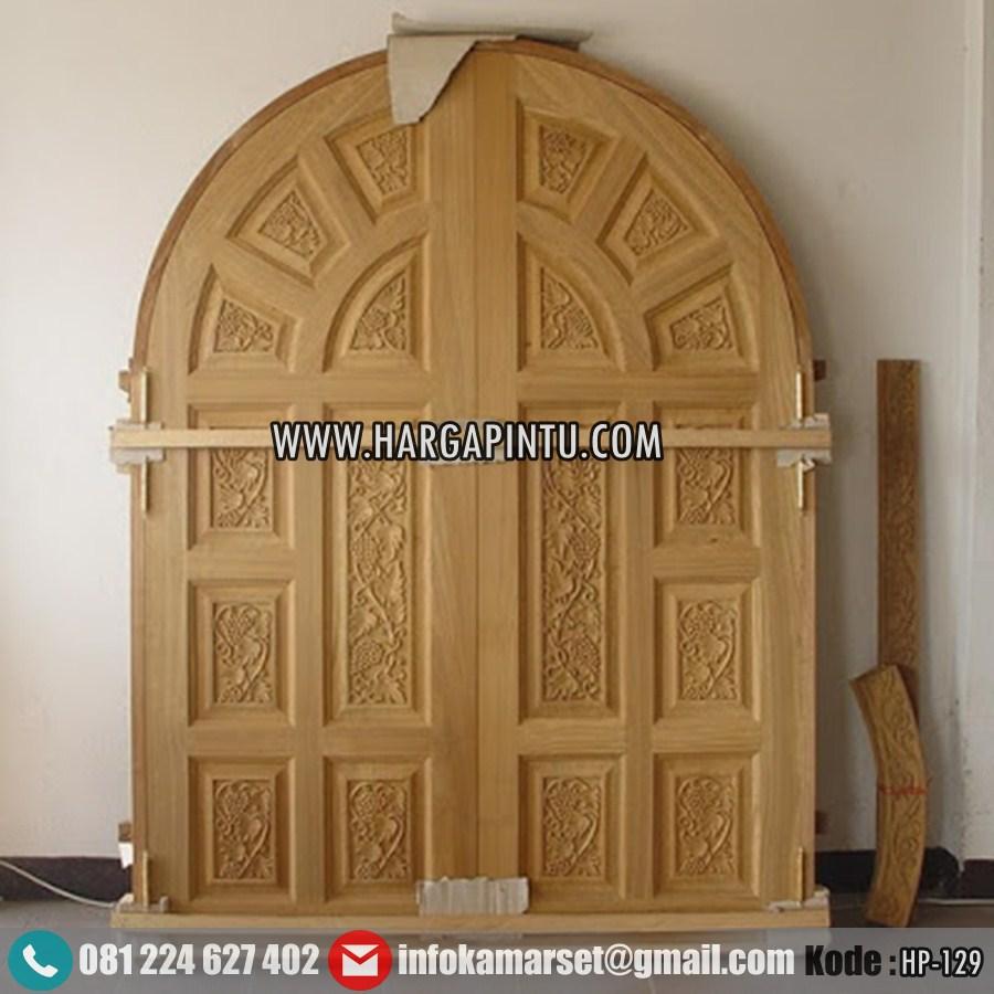 Daun Pintu Lengkung Double Kayu Jati KW 1