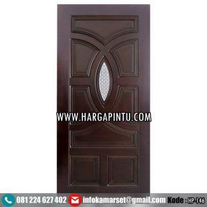 Pintu Panil Kaca Kayu Jati HP-146