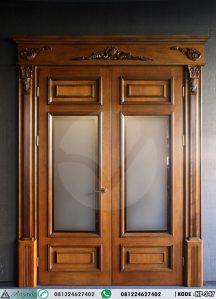 Pintu Jati Panel Kaca Klasik Ukiran HP-347