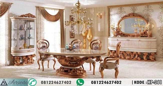 Meja Makan Set Klasik Gold HP-361