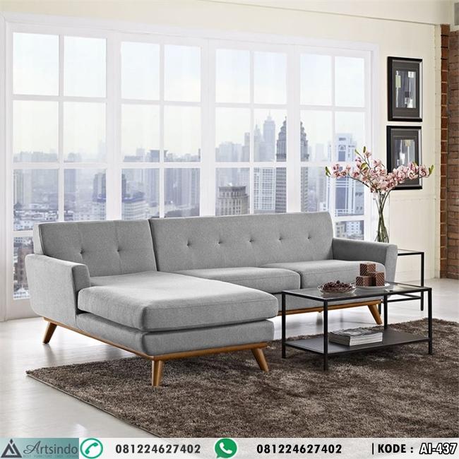Model Kursi Tamu Retro Sofa Sudut HP-437