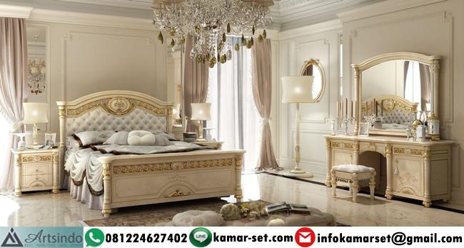 Tempat Tidur Elegan Klasik Gold Krem