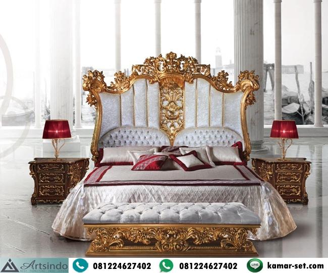Tempat Tidur Gold Ukiran Eropa Klasik