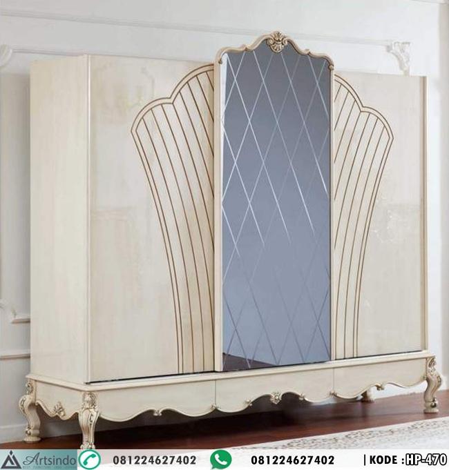 Lemari Pakaian Pintu Sliding - Tempat Tidur Elegan Klasik Ukir Terbaru HP-470