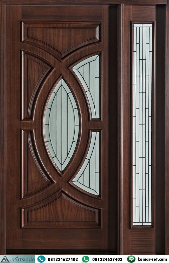 Pintu Panel Kaca Patri Satu Jendela