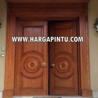 Pintu Utama Mewah Jati Kupu Tarung HP-486