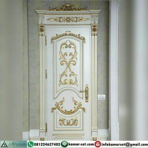 Pintu Klasik Gold Putih Ukiran Eropa Mewah HP-497