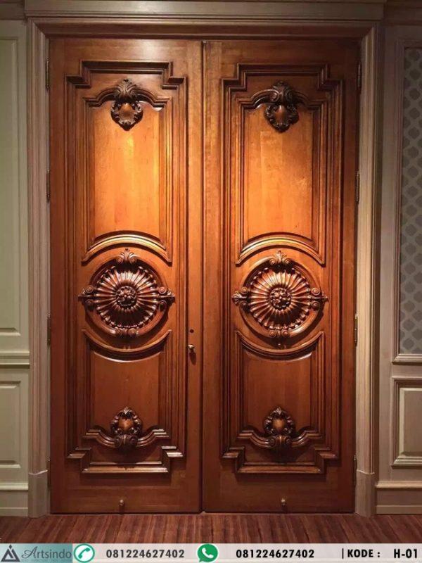 Pintu Kupu Tarung Kayu Jati Ukiran Klasik H-01