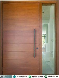 Pintu Kayu Jati Minimalis Modern 1 Jendela Stokholm