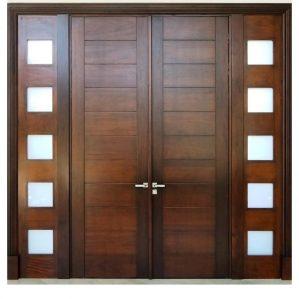 Pintu Kupu Tarung Minimalis Kayu Jati Panil Kaca Jendela Sambu