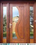 Pintu Utama Kayu Jati Kombinasi Kaca Jendela Sambung Portovino