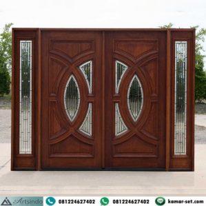 Pintu Utama Jati Jepara Model Kupu Tarung 2 Jendela